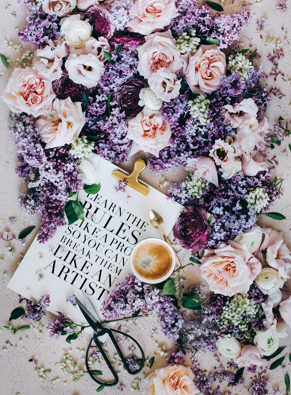Fine Art Flatlay Wedding mat.kb Quote Learn the rules like a pro so you can break them like an artist Floral Designer Coffee Heiraten Schweiz Hochzeitsdekoration