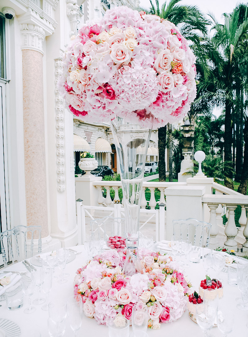 Wedding Carlton Inter Continental Cannes France Floral Design Event Styling Centerpiece Luxe Wedding Luxury Pink Grace Kelly Swiss Wedding